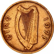 Ireland 1/2 Penny 1971 KM# 19 Decimal Coinage ÉIRE 1971 coin obverse