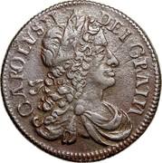 Ireland 1/2 Penny Charles II 1680 KM# 90.1 CAROLVS II DEI GRATIA coin obverse