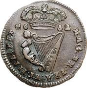 Ireland 1/2 Penny Charles II 1682 KM# 91 16 82 MAG.BR.FRA.ET.HIB.REX coin reverse