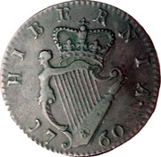 Ireland 1/2 Penny George II 1760 KM# 136 HIBERNIA 1760 coin reverse
