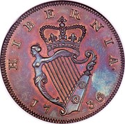 Ireland 1/2 Penny George II small letters 1736 KM# 125 HIBERNIA 1736 coin reverse