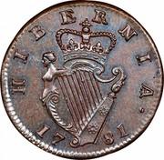 Ireland 1/2 Penny George III 1781 KM# 140 HIBERNIA∙ 17 75 coin reverse