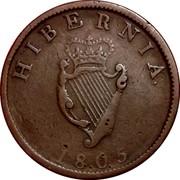 Ireland 1/2 Penny George III 1805 Restrike. Proof KM# 147.2 HIBERNIA 1805 coin reverse