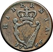 Ireland 1/2 Penny George III short bust type 1766 KM# 137 HIBERNIA 17 66 coin reverse