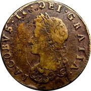 Ireland 1/2 Penny James I 1691 KM# 108 IACOBVS II DEI GRATIA coin obverse
