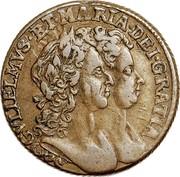 Ireland 1/2 Penny William and Mary 1693 KM# 109 GVLIELMUS.ET.MARIA.DEI.GRATIA coin obverse
