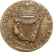 Ireland 1/2 Penny William and Mary 1693 KM# 109 MAG BR FR ET HIB REX ET REGINA 1693 coin reverse