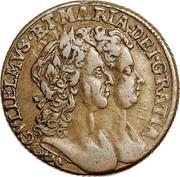 Ireland 1/2 Penny William and Mary 1693 Proof KM# 109a GVLIELMUS.ET.MARIA.DEI.GRATIA coin obverse
