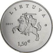 Lithuania 1.5 Euro Lithuanian Hound and Zemaitukas 2017 KM# 225 LIETUVA 2017 1,50 € coin obverse