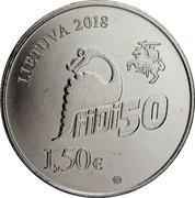 Lithuania 1.5 Euro The 50th Physicists Day of Vilnius University 2018 LMK KM# 227 LIETUVA 2018 FIDI 50 1,50 € coin obverse