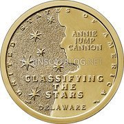 USA $1 (American Innovation - Delaware) UNITED STATES OF AMERICA ANNIE JUMP CANNON CLASSIFYING THE STARS DELAWARE coin reverse