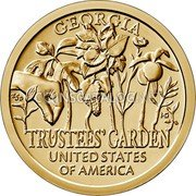 USA $1 American Innovation - The Trustees Garden 2019 P Proof GEORGIA TRUSTEES' GARDEN UNITED STATES OF AMERICA coin reverse