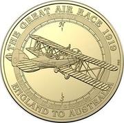 Australia 1 Dollar Airco DH9 2019 THE GREAT AIR RACE 1919 ENGLAND TO AUSTRALIA AIRCO DH9 LT. RAY PARER LT. JOHN C MCINTOSH coin reverse