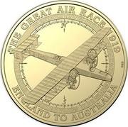 Australia 1 Dollar Blackburn Kangaroo 2019 THE GREAT AIR RACE 1919 ENGLAND TO AUSTRALIA BLACKBURN KANGAROO LT. V RENDLE CAPT. G H WILKINS LT. D R WILLIAMS LT. G H POTTS coin reverse