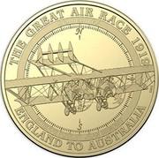 Australia 1 Dollar Caudron G.4 2019 THE GREAT AIR RACE 1919 ENGLAND TO AUSTRALIA CAUDRON G4 ETIENNE POULET JEAN BENOIST coin reverse
