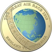 Australia 1 Dollar Centenary of the Great Air Race - England to Australia 2019 THE GREAT AIR RACE 1919 ENGLAND TO AUSTRALIA coin reverse