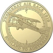 Australia 1 Dollar Martinsyde A1 2019 THE GREAT AIR RACE 1919 ENGLAND TO AUSTRALIA MARTINSYDE A1 CAPT. CEDRIC E HOWELL LT. GEORGE H FRASER coin reverse