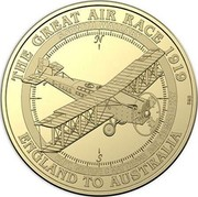Australia 1 Dollar Sopwith Wallaby 2019 THE GREAT AIR RACE 1919 ENGLAND TO AUSTRALIA SOPWITH WALLABY CAPT. GEORGE C.MATTHEWS SGT.THOMAS D.KAY coin reverse