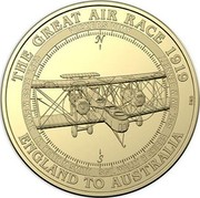Australia 1 Dollar Vickers Vimy 2019 THE GREAT AIR RACE 1919 ENGLAND TO AUSTRALIA VICKERS VIMY CAPT. ROSS M.SMITH LT. KEITH M.SMITH SGT. WALLY H.SHIERS SGT. JIM M.BENNETT coin reverse