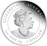 Australia 1 Dollar Year of the Mouse - Lunar Series III 2020 Proof ELIZABETH II AUSTRALIA 1 OZ 9999 AG 1 DOLLAR coin obverse