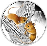 Australia 1 Dollar Year of the Mouse - Lunar Series III 2020 Proof MOUSE 2020 P coin reverse
