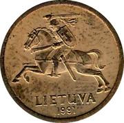 Lithuania 10 Centu 1991 KM# 88 Reform Coinage LIETUVA 1991 coin obverse