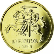 Lithuania 10 Centu 2013 In sets only KM# 106 Reform Coinage LIETUVA 1998 coin obverse