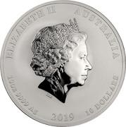 Australia 10 Dollars 4th Portrait - Year of the Pig 2019 P Perth Mint Bullion Coin ELIZABETH II AUSTRALIA IRB 10OZ 9999 AG 2019 10 DOLLARS coin obverse