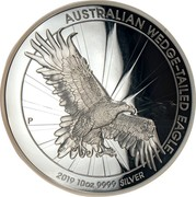 Australia 10 Dollars High Relief Silver Wedge-Tailed Eagle 2019 Proof AUSTRALIAN WEDGE-TAILED EAGLE 2019 10OZ 9999 SILVER coin reverse