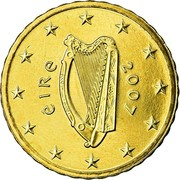 Ireland 10 Euro Cent 2nd map 2007 Proof KM# 47 ÉIRE 2007 coin obverse