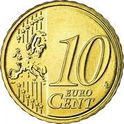 Ireland 10 Euro Cent 2nd map 2007 Proof KM# 47 10 EURO CENT LL coin reverse