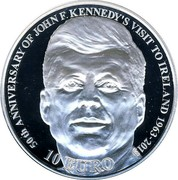 Ireland 10 Euro Kennedy's Presidential visit 2013 Proof KM# 78 50TH ANNIVERSARY OF JOHN F. KENNEDY'S VISIT TO IRELAND 1963 - 2013 10 EURO coin reverse