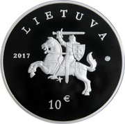 Lithuania 10 Euro Lithuanian Hound and Zemaitukas 2017 Proof KM# 229 2017 LIETUVA 10 € coin obverse