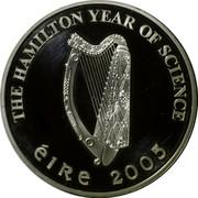 Ireland 10 Euro Sir William Rowan Hamilton 2005 Proof KM# 44 THE HAMILTON YEAR OF SCIENCE ÉIRE 2005 coin obverse