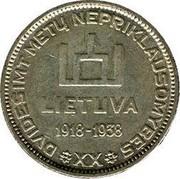 Lithuania 10 Litu 20 years of independence 1938 KM# 84 DVIDEŠIMT METU NEPRIKLAUSOMYBES LIETUVA 1918 - 1938 XX coin obverse