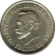 Lithuania 10 Litu 20 years of independence 1938 KM# 84 VALSTYBĖS PREZIDENTAS A. SMETONA 10 LITŲ 10 coin reverse