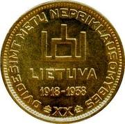 Lithuania 10 Litu A. Smetona 1938 KM# Pn14 DVIDEŠIMT METŲ NEPRIKLAUSOMYBES XX LIETUVA 1918-1938 coin obverse