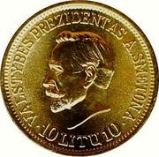 Lithuania 10 Litu A. Smetona 1938 KM# Pn14 VALSTYBES PREZIDENTAS A. SMETONA 10 LITU 10 coin reverse