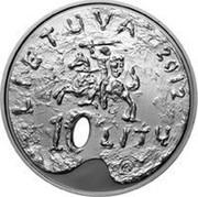 Lithuania 10 Litu Dedicated to Fine Arts 2012 Proof KM# 179 LIETUVA 2012 10 LITŲ LMK coin obverse