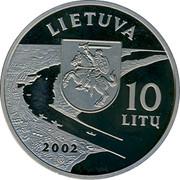 Lithuania 10 Litu Dedicated to Klaipeda 2002 Proof KM# 131 KLAIPĖDA coin reverse