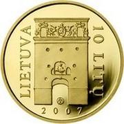 Lithuania 10 Litu Gate of Dawn (Ostra Brama) 2007 LMK Proof KM# 160 LIETUVA 10 LITŲ LMK 2007 coin obverse
