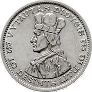 Lithuania 10 Litu Grand duke Vytautas the Great 1936 KM# 83 VYTAUTAS DIDYSIS 10 DEŠIMTS LITŲ 10 coin reverse