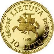 Lithuania 10 Litu Lithuanian gold coinage 1999 Proof KM# 120 LIETUVA 1999 10 LITŲ coin obverse