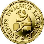 Lithuania 10 Litu Lithuanian gold coinage 1999 Proof KM# 120 AVREVS NVMMVS LITVANIÆ LMK coin reverse