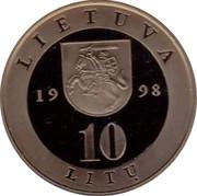 Lithuania 10 Litu Vilnius 1998 Proof KM# 115 LIETUVA 1998 10 LITŲ coin reverse