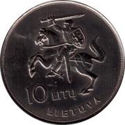 Lithuania 10 Litu Visit of Pope John Paul II to Lithuania 1993 LMK KM# 95 10 LITŲ LIETUVA coin obverse