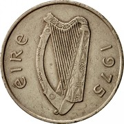 Ireland 10 Pence Large type 1975 KM# 23 ÉIRE 1980 coin obverse