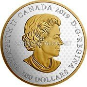 Canada 100 Dollarsrev ((Great Seal of the Province of Canada (1841-1867))) ELIZABETH II CANADA 2019 D • G • REGINA 100 DOLLARS coin obverse