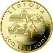 Lithuania 100 Litu 1000th Anniversary of the name Lithuania 2007 Proof KM# 158 LIETUVA LMK 100 LITŲ 207 coin obverse