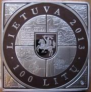 Lithuania 100 Litu 1st Map of Grand Duchy of Lithuania 2013 Proof KM# 198 LIETUVA 2013 100 LITŲ LMK coin obverse